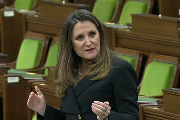 Finance Minsiter Chrystia Freeland delivers the 2021 Budget