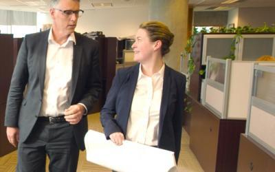 engineers walking in an office