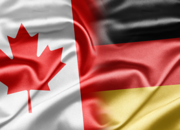 combined German and Canadian flags