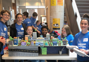 Students from the Durham Catholic District School Board in Ontario display their model at the Future City Competition at Ontario Tech University in May 2019.